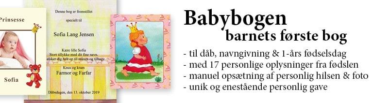 Babybogen - Barnets første personlige bog med navn - dåbsgave fra Min Personlige Bog