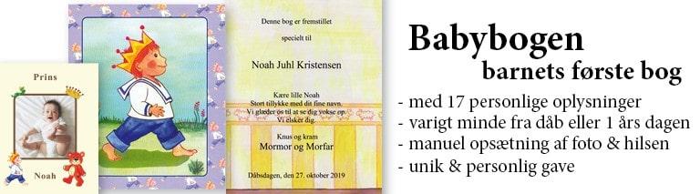 Babybogen - Barnets første bog - en personlig bog til dåb for drenge - Min Personlige Bog