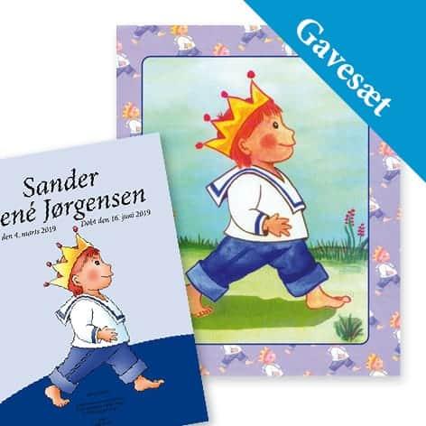 gavesæt babybog dreng med hilsen bog