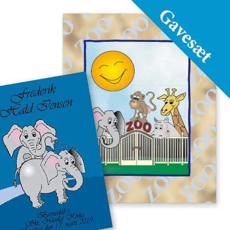 gavesæt zoo elefant bog blå
