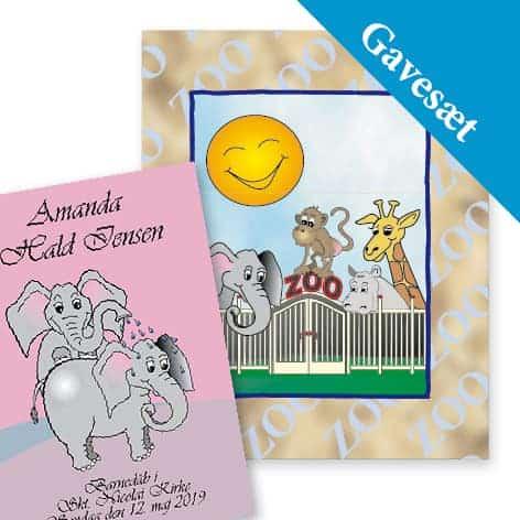 gavesæt zoo elefant bog rosa